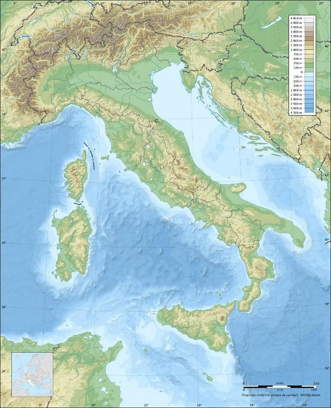 Карта Италия - Географическая карта Италии