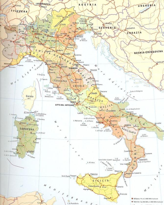 Карта Италия - Политическая карта Италии
