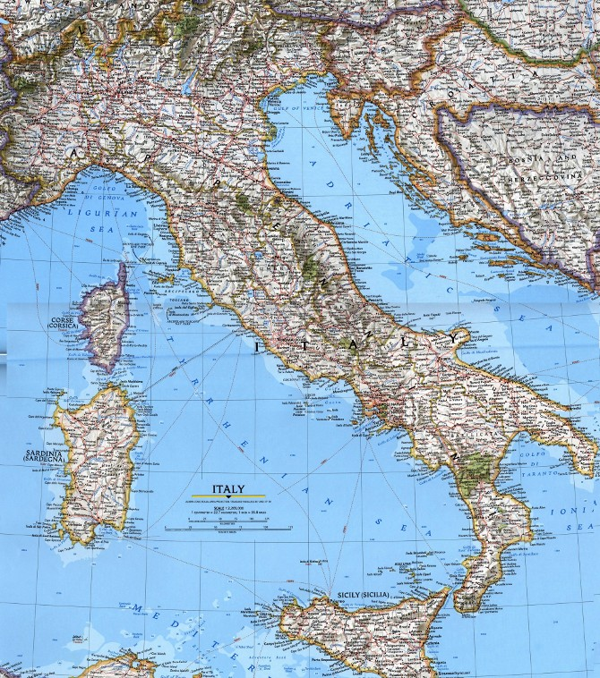 Карта Италия - Общая карта Италии